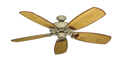 Riviera Roman Stone Tropical Ceiling Fan with Arbor 275 Bamboo Blades