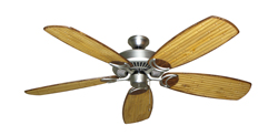 Riviera Satin Steel Tropical Ceiling Fan with Arbor 275 Bamboo Blades