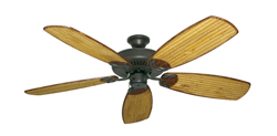 Riviera Weathered Brick Tropical Ceiling Fan with Arbor 275 Bamboo Blades