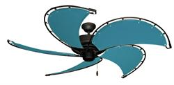 52 in Raindance Oil Rubbed Nautical Ceiling Fan Turquoise Canvas Blades