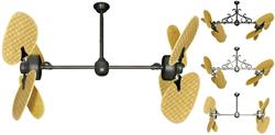 46 inch Twin Star III Double Ceiling Fan - Natural Woven Bamboo Blades