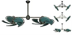 30 inch Twin Star III Double Ceiling Fan - Green Nautical Sail Blades