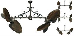 50 inch Twin Star III Double Ceiling Fan - Arbor 950 Dark Walnut Blades