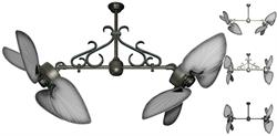 50 inch Twin Star III Double Ceiling Fan - Bombay Brushed Steel Blades