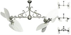 50 inch Twin Star III Double Ceiling Fan - Bombay White Blades